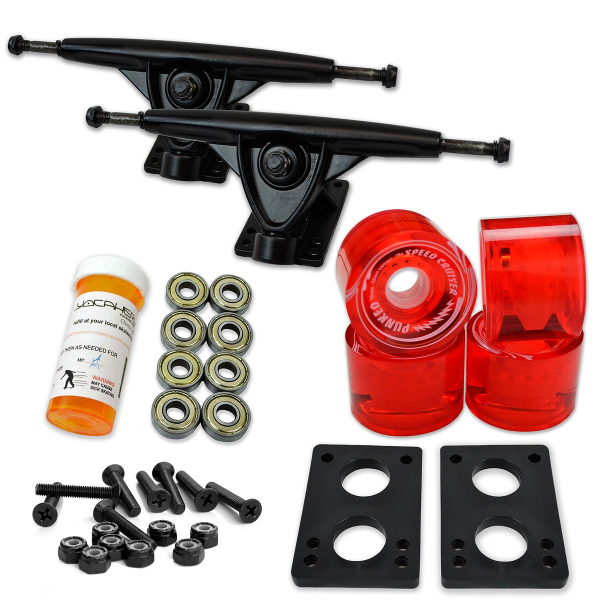 Yocaher Longboard Skateboard Trucks Combo Set w/ 71mm Wheels + 9.675'' Polished/Black Trucks Package, Gel Red Wheel, Black Trucks by Yocaher