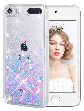 wlooo Handyhülle iPod Touch 6 Glitzer Hülle, iPod Touch 5 Hülle, Glitzer Süße Flüssig Bewegende Treibsand Handyhülle