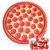 (16 Patterns) Thick Terry Round Beach Towel/Round Beach Blanket/Round Beach Mat Roundie Tapestry/Round Yoga Mat with Fringe Tassels Pizza