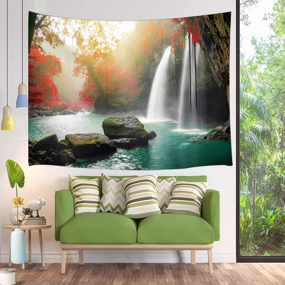 Rainforest Foliage Palm Leaves Nature Print Tapestries Bedroom Living Room Dorm Blanket Wall Art Decor 71x60inches JAWO Tropical Tapestry Wall Hangings