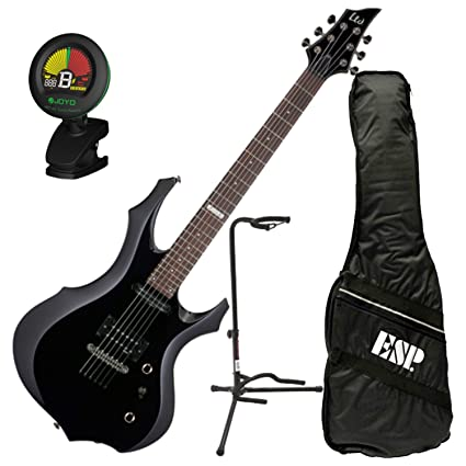 Amazon.com: ESP LTD F-10 BLK F-Shape Electric Guitar Black Kit w/Gig Bag, Tuner, and Stand: Musical Instruments
