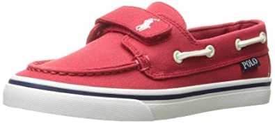 Polo Ralph Lauren Kids Boys\u0027 Batten EZ Boat Shoe, Red, 4 M US