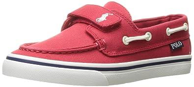 Polo Ralph Lauren Kids Boys\u0027 Batten EZ Boat Shoe, Red, 4 M US