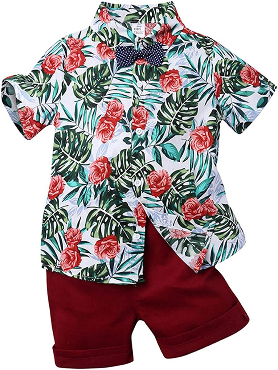 Toddler Baby Boy Shorts Sets Hawaiian Outfit,Infant Kid Leave Floral Short Sleeve Shirt Top+Shorts Suits