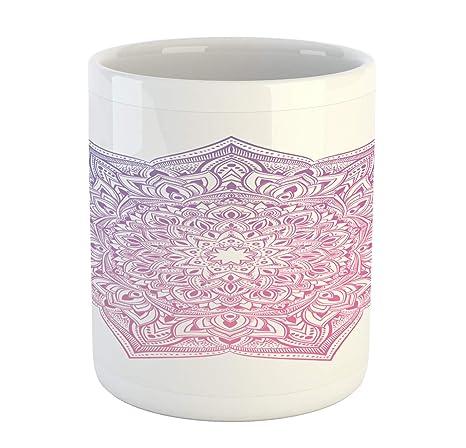 Amazon.com: Ambesonne Pink Mandala Mug, Oriental Round Folk ...