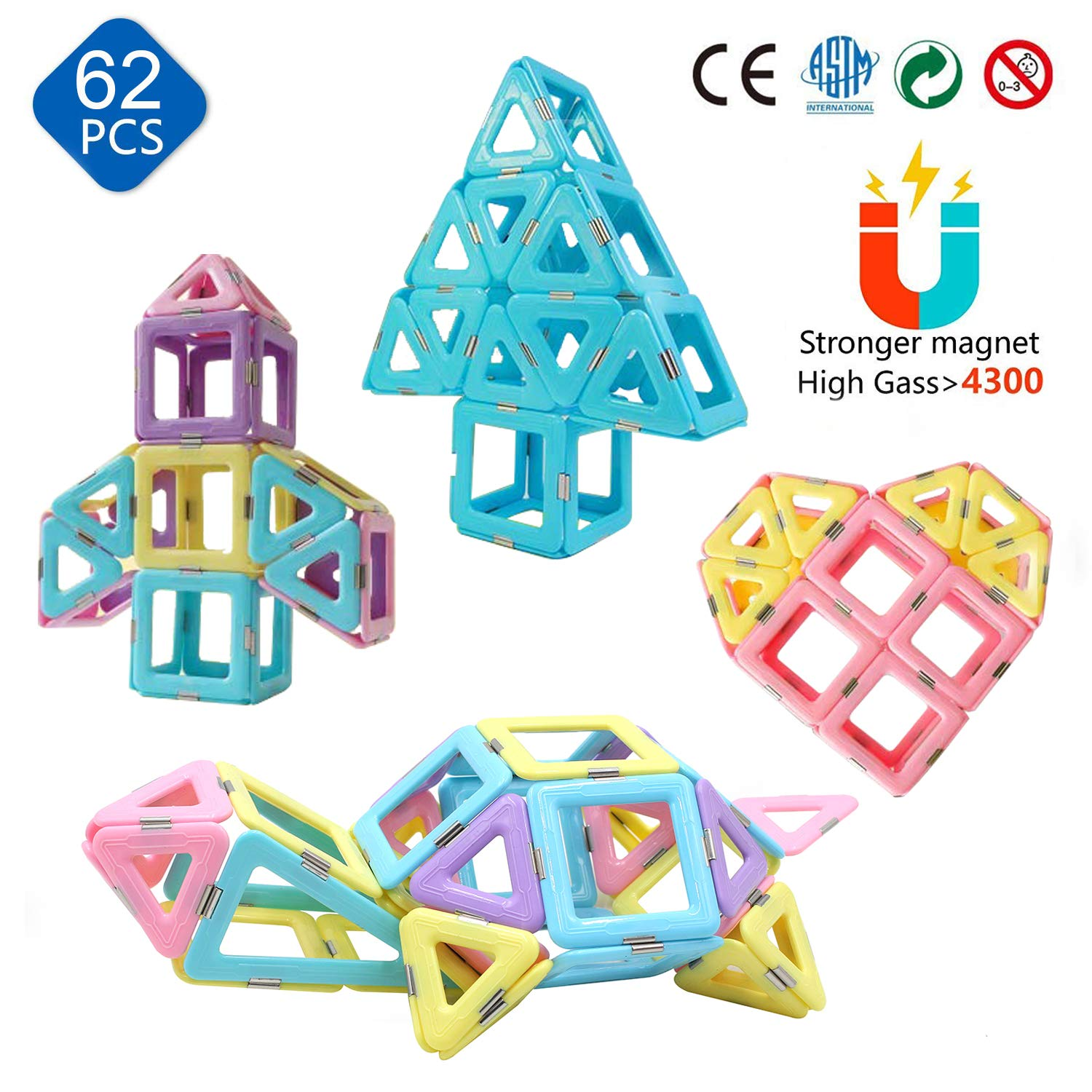 FryCWHQ 62PCS Castle Magnetic Blocks for Boys Girls Kids -3D Macaron Colors Learning & Development Building Blocks Toys by FryCWHQ