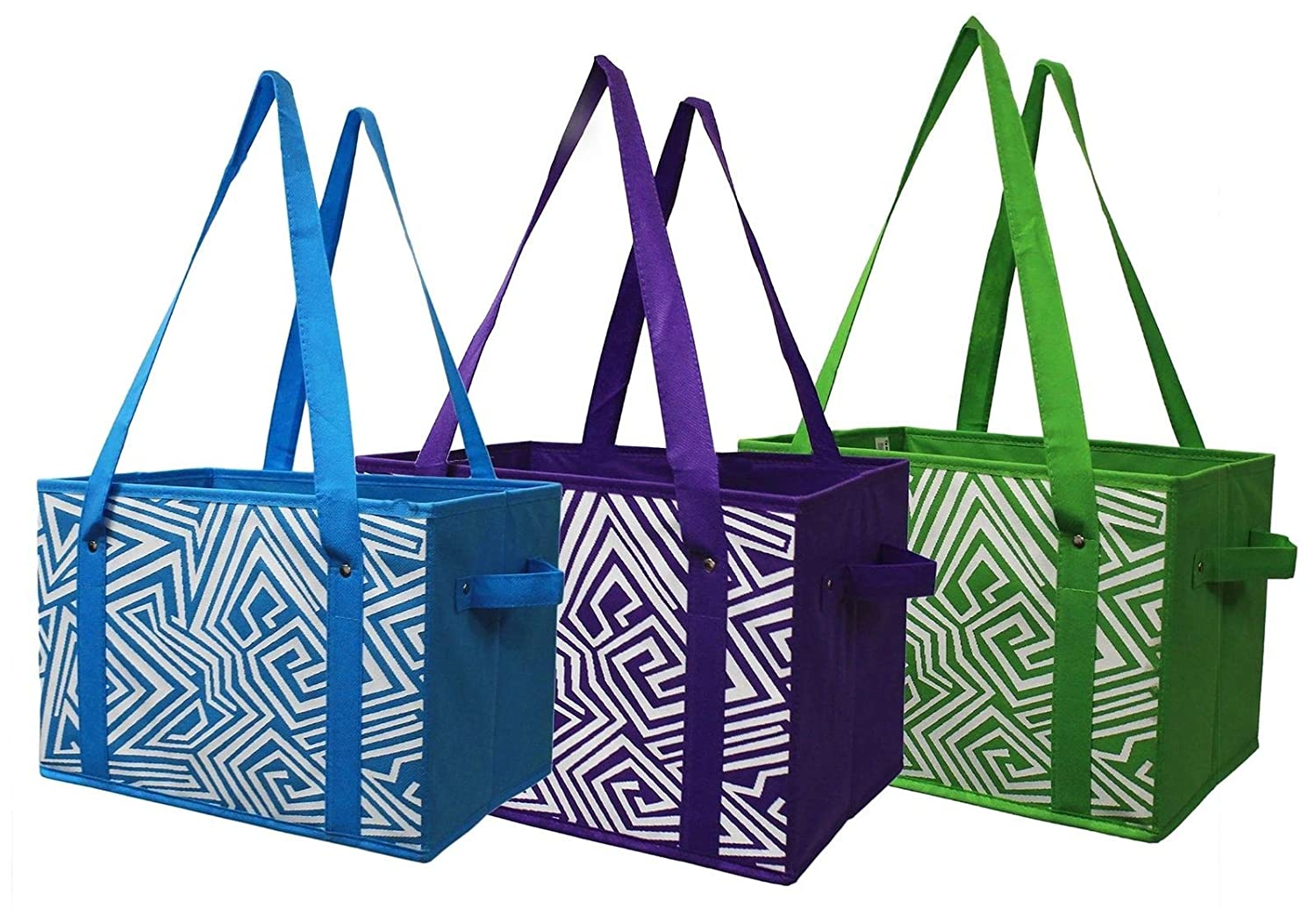 愛用 Earthwise Reusable Grocery Bag Shopping Box Tote COLLAPSIBLE Colours BAG Bag Earthwise with Reinforced Bottom in 3 Bright Colours (Set of 3) B0711K553G, フィットネス&サプリメントのMW:542b4629 --- 4x4.lt