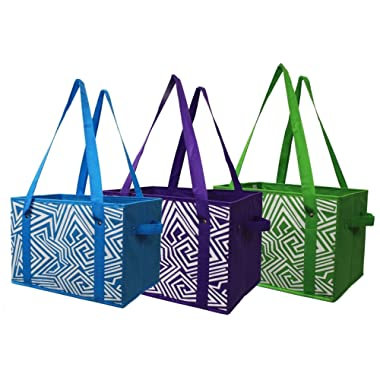 Earthwise Deluxe Collapsible Reusable Shopping Box Grocery Bag Set with Reinforced Bottom Storage Boxes Bins Cubes (Set of 3) (Green/Turq/Purple)