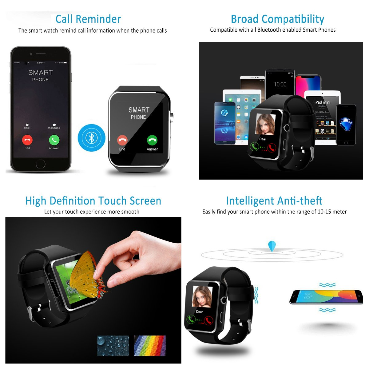 2018 Bluetooth Smart Watch for Andriod phones, iphone Smartwatch with Camera,Waterpfoof Watch Cell Phone ,Smart Wrist Watch Touchscreen for Android Samsung IOS Iphone X 87 6 5 Plus Men Women Youth by Luckymore (Image #4)
