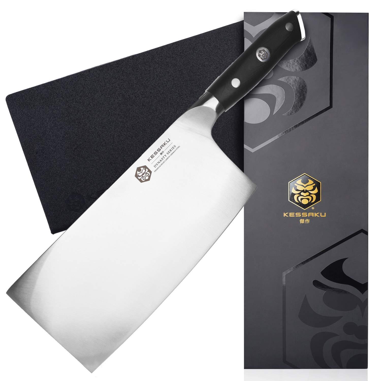 Kessaku Cleaver Butcher Knife - Dynasty Series - German HC Steel - G10 Full Tang Handle, 7-Inch by Kessaku