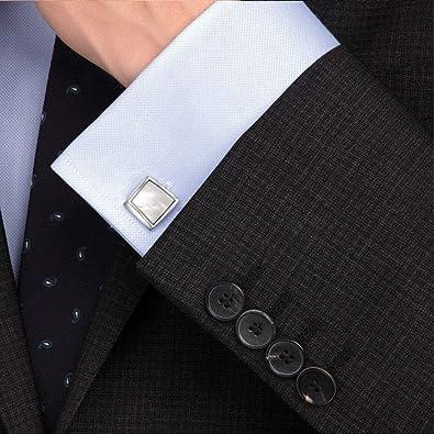 Anfly Hombres Gemelos Cuadrados Concha de mar Cobre Hombres de negocios Camisa de negocios Gemelos (Plata) Regalo de joyería