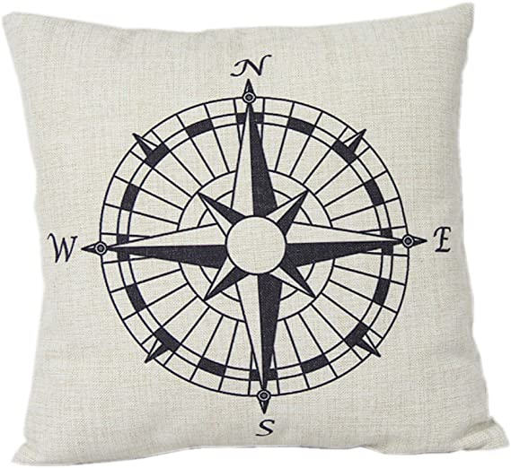 Decorbox Nautical Compass Cotton Linen Pillow Cover 18 X 18 Home Kitchen
