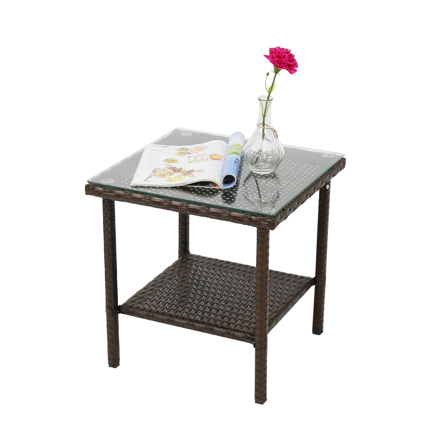 Peach Tree 17-Inch Indoor Outdoor Square Patio Rattan Wicker Side Tea Table w/Glass, Brown