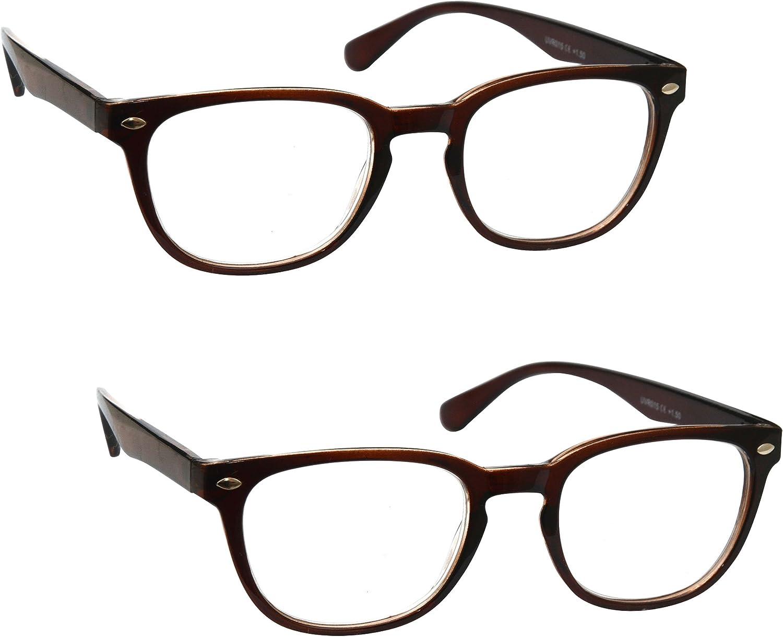 1,00 UV Reader Marrone Occhiali da Lettura 2 Pacco Stile Designer Uomo Donna Astuccio Compreso UVR2PK015 Diottria