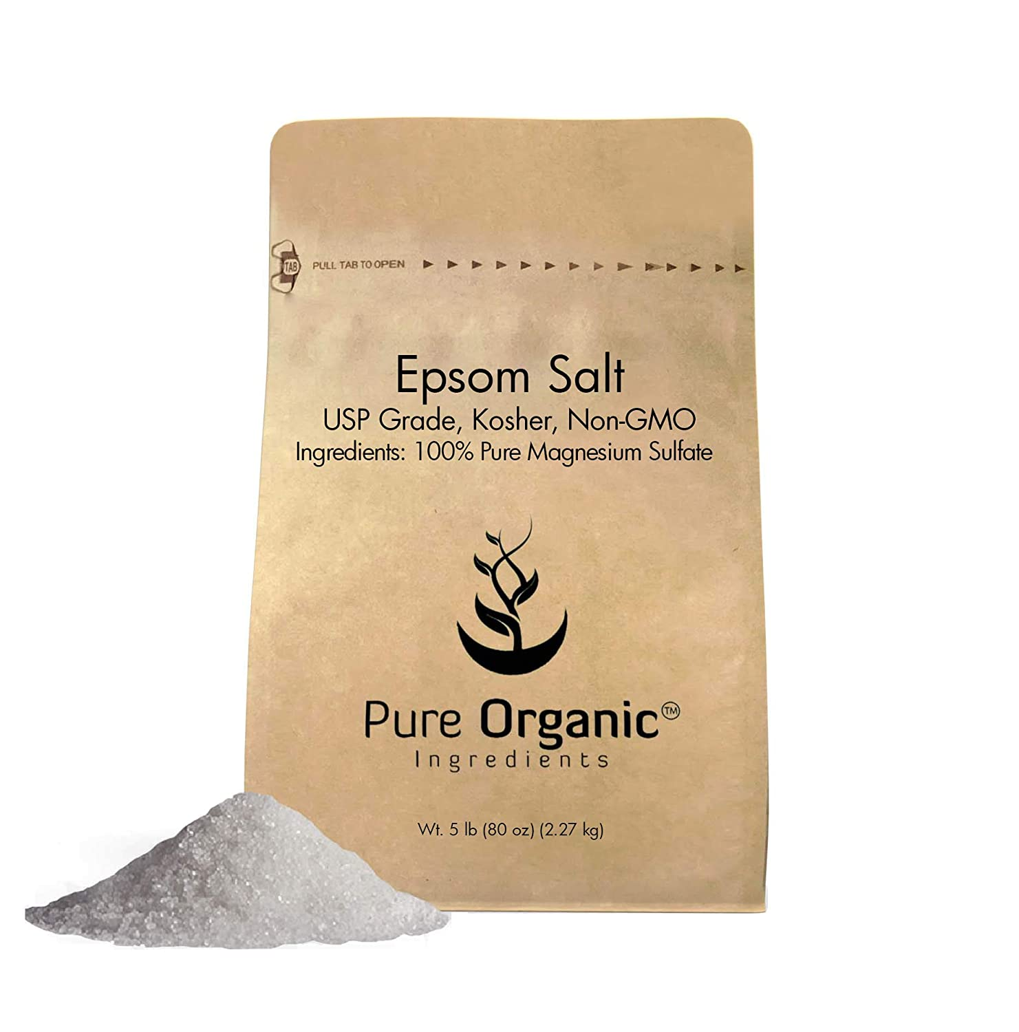 Pure Epsom Salt (Magnesium Sulfate), 1 lb (16 oz), Soaking Solution, All-Natural, Highest Quality & Purity, USP Grade, Eco-Friendly Packaging (Also available in 4 oz & 5 lb) Pure Organic Ingredients