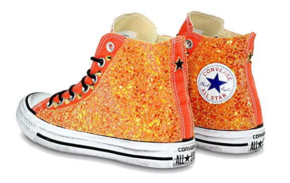 c20b0a0f9f37 Customized All Star Van of Fire Converse Orange Glitter handmade in italy  by Mimanera: Amazon.co.uk: Shoes & Bags