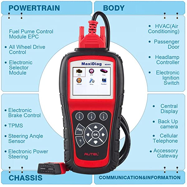 Autel MaxiDiag MD805 can perform both basic and advanced functions.