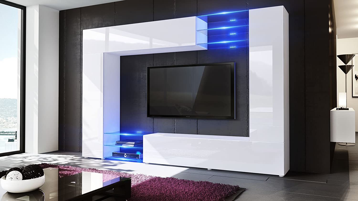Wall Unit Tv Stand Mirage Carcass In White Matt Front In White  # Vladon Meuble Tv