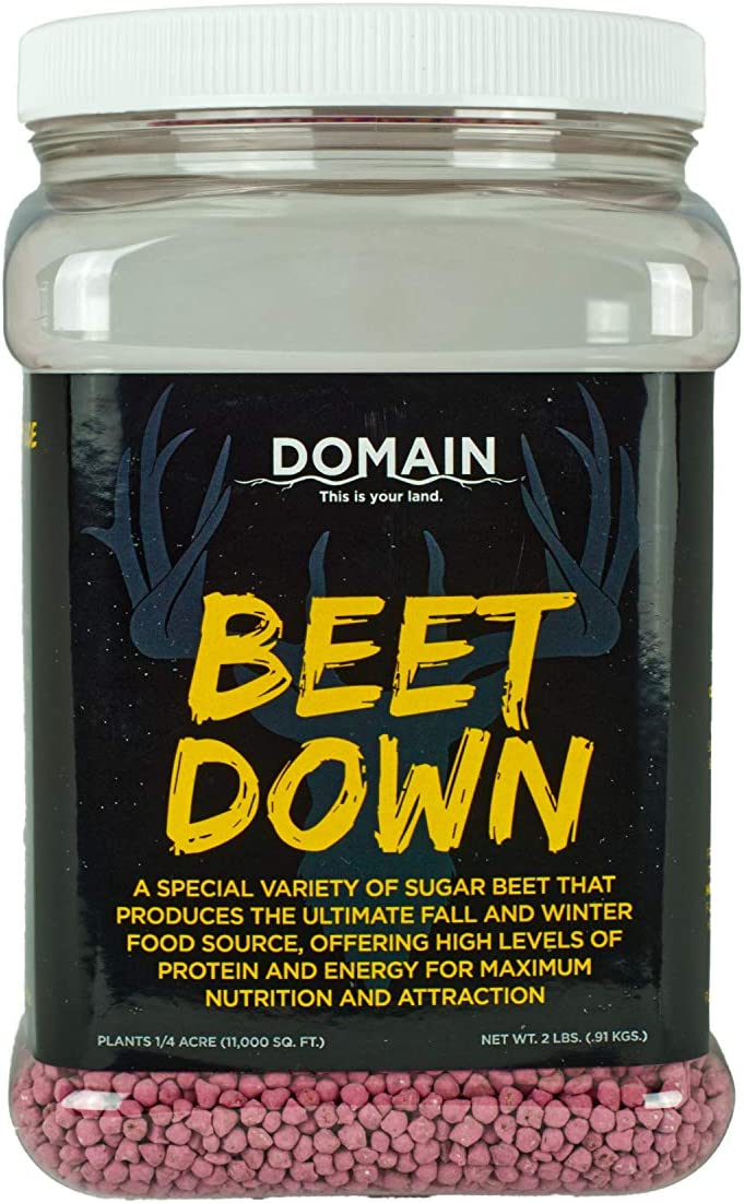 Domain Outdoor Beet Down Deer Food Plot Seed, 1/4 Acre, Special Variety of Sugar Beet Designed to Produce Tons of Nutrient-Rich Forage, Early and Late Season - Domain Brand Coated Sugar Beets