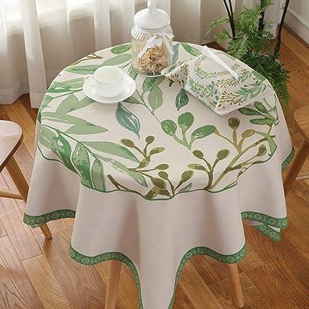 LINGZHIGAN Mantel de mesa redonda de tela Algodón de tela de ...