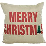 Beautyvan Soft Christmas Pillow Case Sofa Waist Throw Cushion Cover Home Decor (Beige)