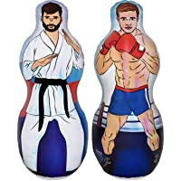 ImpiriLux Inflatable Two Sided Karate and Boxing Punching Bag | Includes One Inflatable 5 Foot Tall Bop Bag with Illustration of a Karate Master on One Side and Boxer on Reverse Side (2019 Edition)