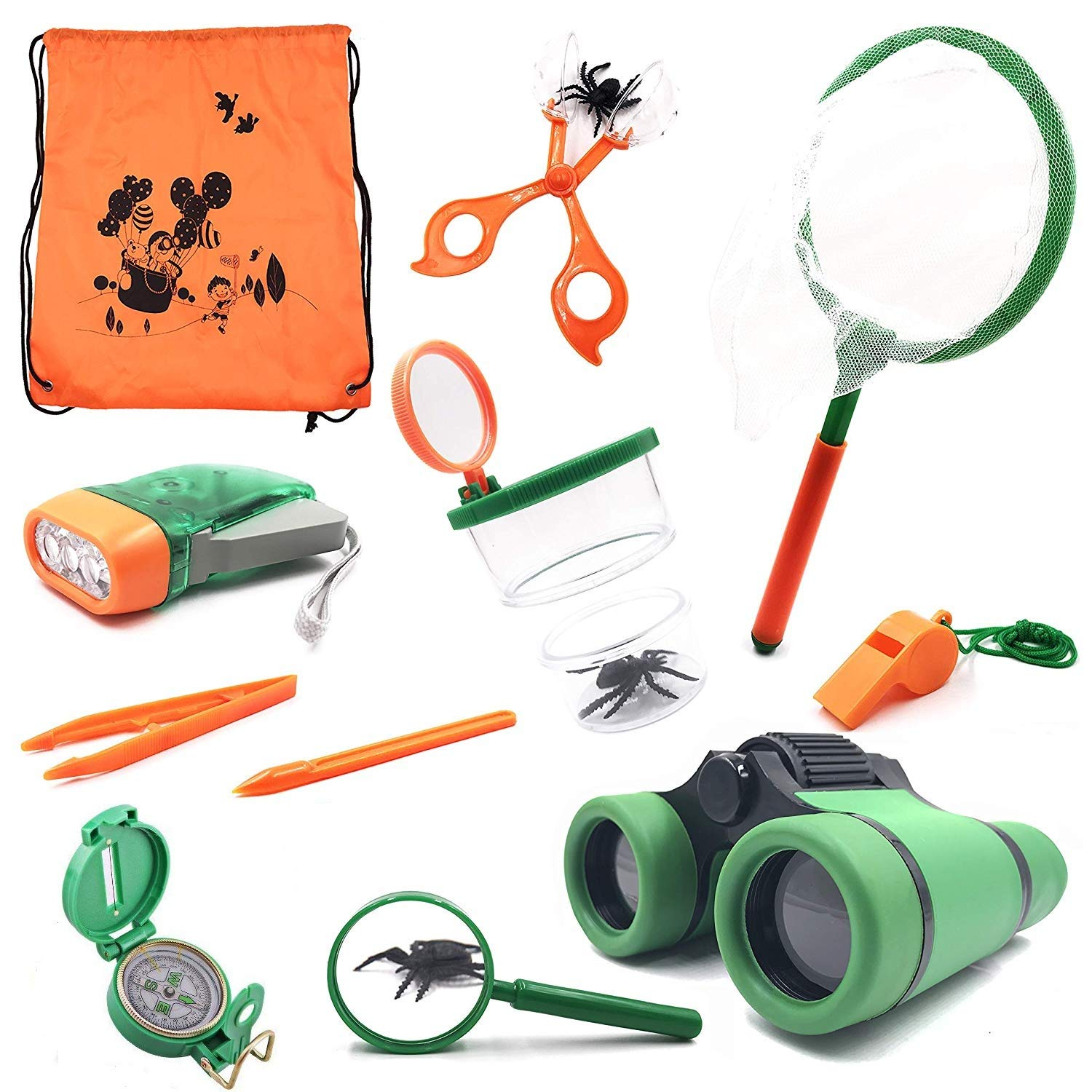 3f576792bd8 Adventure Kids - Outdoor Explorer Exploration Children s Toys  Kit-Binoculars  Flashlight  Compass  Whistle  Magnifying Glass  Butterfly  Net  Bug Catcher  ...