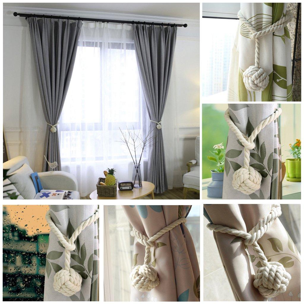 Beige BTSKY 2 Pieces Curtain Rope Holdbacks Decorative Hand-Knitted Cotton Tiebacks