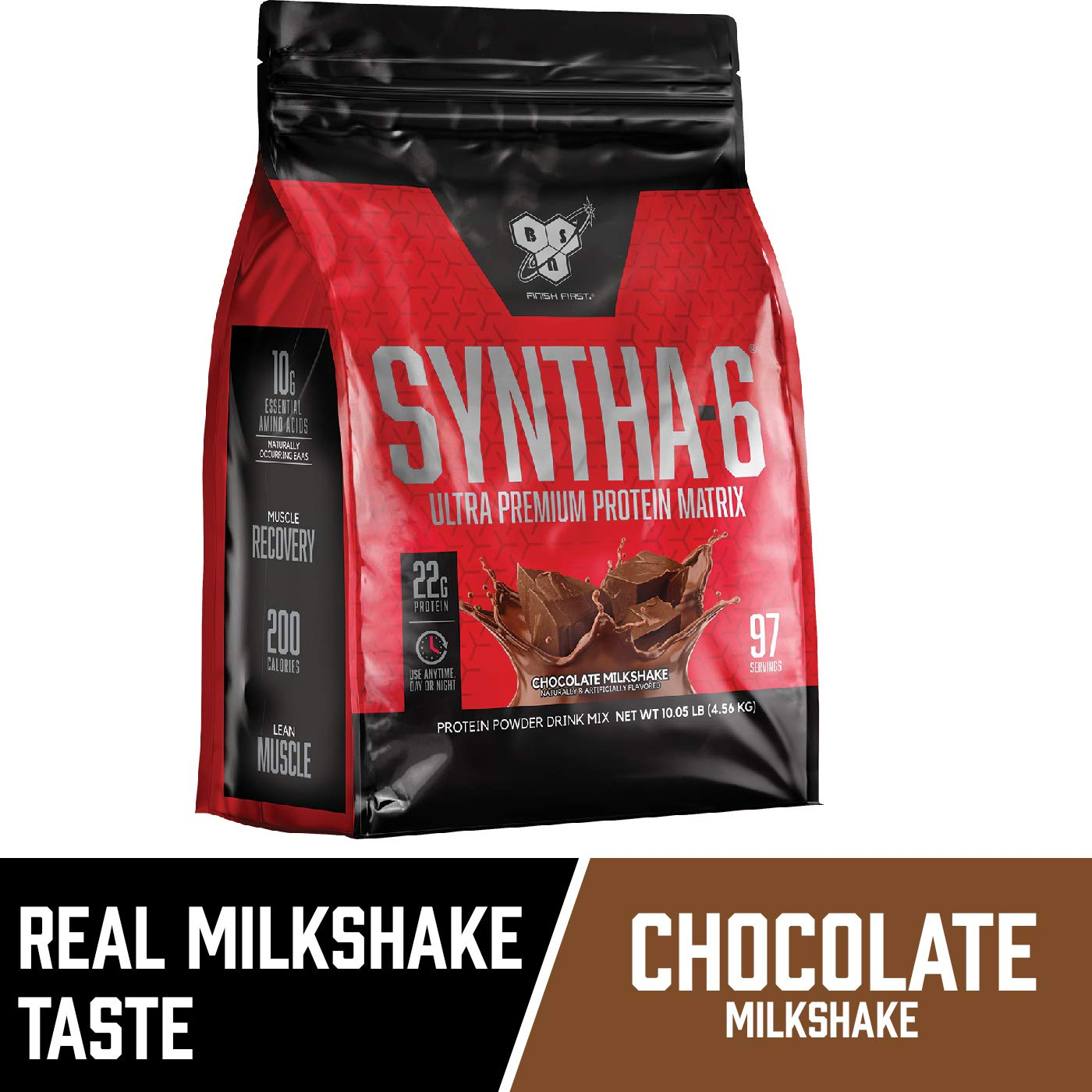 BSN SYNTHA-6 Whey Protein Powder, Micellar Casein, Milk Protein Isolate Powder, Chocolate Milkshake, 97 Servings (Package May Vary) by BSN (Image #2)