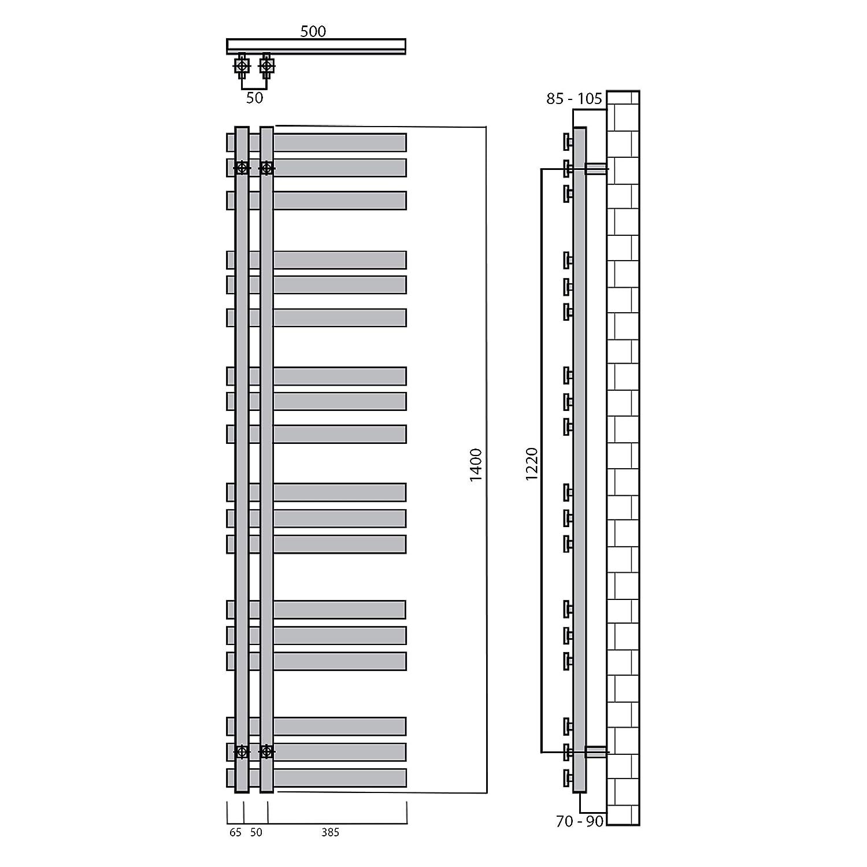 Heizk/örper mit versetztem Mittelanschluss 1800 x 500, Wei/ß Design Badheizk/örper Paneel mit Anschluss links oder rechts 617 Watt nach EN442