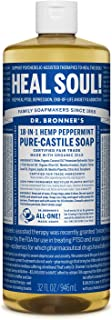 product image for Dr. Bronner's - Pure-Castile Liquid Soap (Peppermint, 32 ounce) - Made with Organic Oils, 18-in-1 Uses: Face, Body, Hair, Laundry, Pets and Dishes, Concentrated, Vegan, Non-GMO