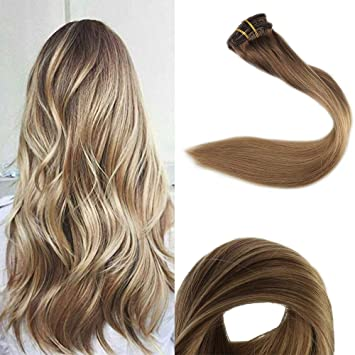 Full Shine 18 Inch 10 Pcs Blonde Balayage Clip In Hair Extension Human Hair  Ombre Pastel Hair Color 10/14 Brown Fading To Blonde Clip In Straight Hair  ...