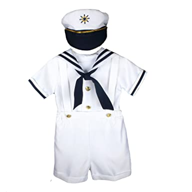 7849aab6ab45 Amazon.com  Unotux Sailor Shorts Suit for Infant Toddler Boy Navy ...