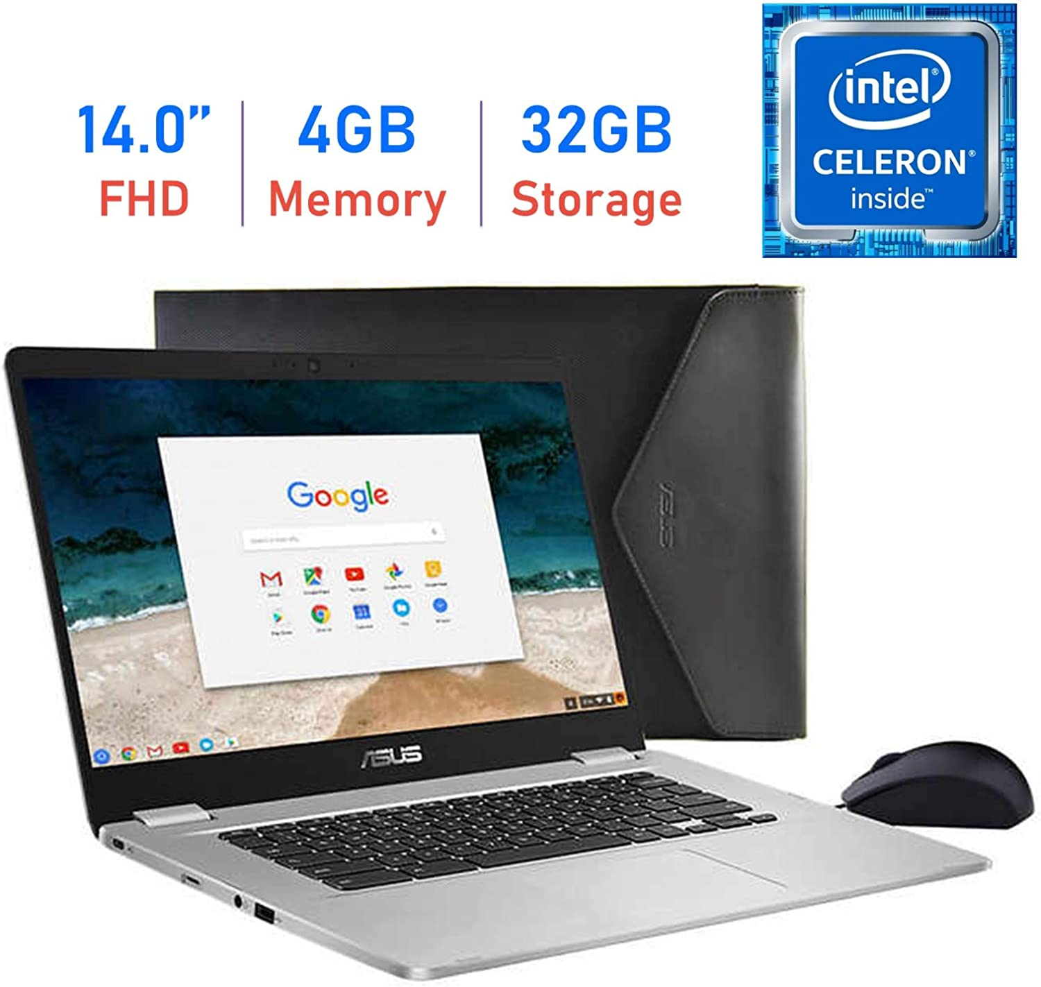 """ASUS C423NA Chromebook 14"""" FHD (1920x1080) Laptop PC, Intel Dual Core Celeron N3350 up to 2.4GHz, 4GB LPDDR4 RAM, 32GB eMMC, Durable 180° Hinge, Bluetooth, Chrome OS, Mouse and Sleeve Included"""