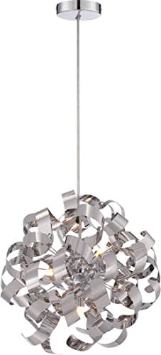 Quoizel RBN2817C Ribbons Curved Metal Pendant Ceiling Lighting, 5-Light, Xenon 200 Watts, Polished Chrome 17 H x 17 W