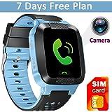 GBD 1.44 inch Touch Kids GPS Tracker Smart Watch with Camera SIM Calls Anti-lost SOS Children Girls Boys Wrist Watch Smart Bracelet Finder Safety Monitor Flashlight (Mix Blue)