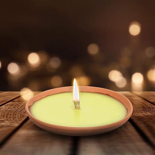 17 cm Lot de 20 bougies anti-moustiques parfum citronnelle en terre cuite Diam/ètre