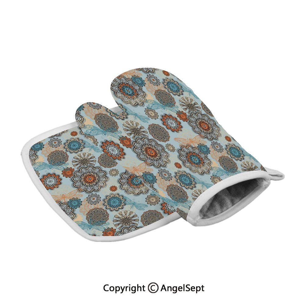 Abstract Symmetric Flowers and Dragonflies Saesonal Simple Drawing Summer Decorative,Polyster Oven Mitts+Insulated Square Mat,Light Blue Multicolor,Heat Resistant Kitchen Gloves