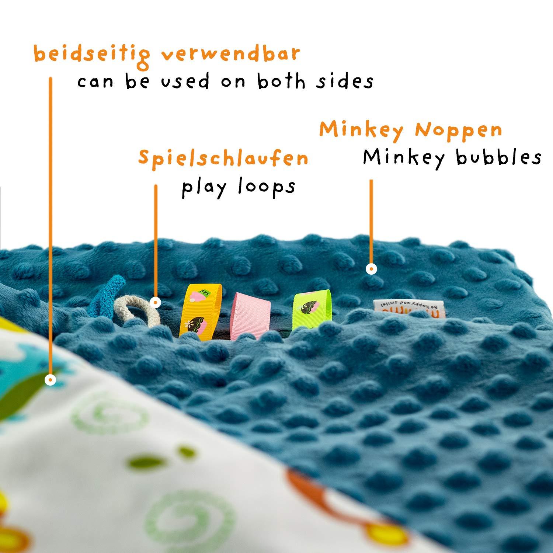 OEKO-TEX Standard 100 MUNIMU Babydecke Minky antiallergisch Made in EU 75x100cm Weiche Kuschel- und Spieldecke in lustigen Motiven doppelseitig verwendbar