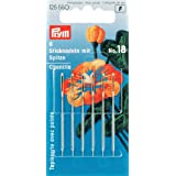 Prym 1.20 x 50 mm Number 18 Embroidery Needles Chenille Sharp Point with Eye, Pack of 6, Gold/Silver
