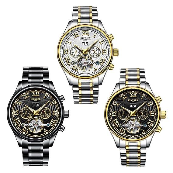 Skeleton Tourbillon - Reloj automático para hombre, calendario de acero dorado, resistente al agua: Amazon.es: Relojes