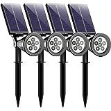 Mpow 6 LED Solar Gartenleuchte Solarleuchten, Outdoor Wandleuchte, Helle Garten-Licht, 2 Beleuchtungsmodi, Wasserdicht, 90 Grad Winkelverstellbar, Sicherheitsbeleuchtung, Großes Außenlicht für Garten, Hof, Garage, Wand, Pathway und Patio