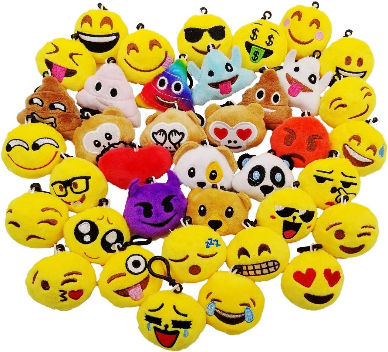JZK 38pcs Mini Juguete de Peluche, Emoji Llavero emoticonos llaveros emoción para niños y Adulto Regalo Fiesta de cumpleaños Navidad favores Rellenos Bolso Partido Decoraciones