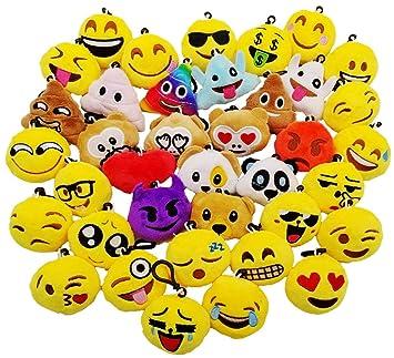 JZK 38pcs Mini Juguete de Peluche, Emoji Llavero emoticonos llaveros emoción para niños y Adulto Regalo Fiesta de cumpleaños Navidad favores Rellenos ...