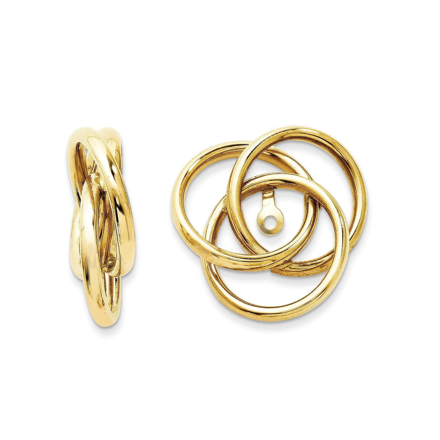 Roy Rose Jewelry 14K Yellow Gold Polished Love Knot Earring Jackets 16mm length
