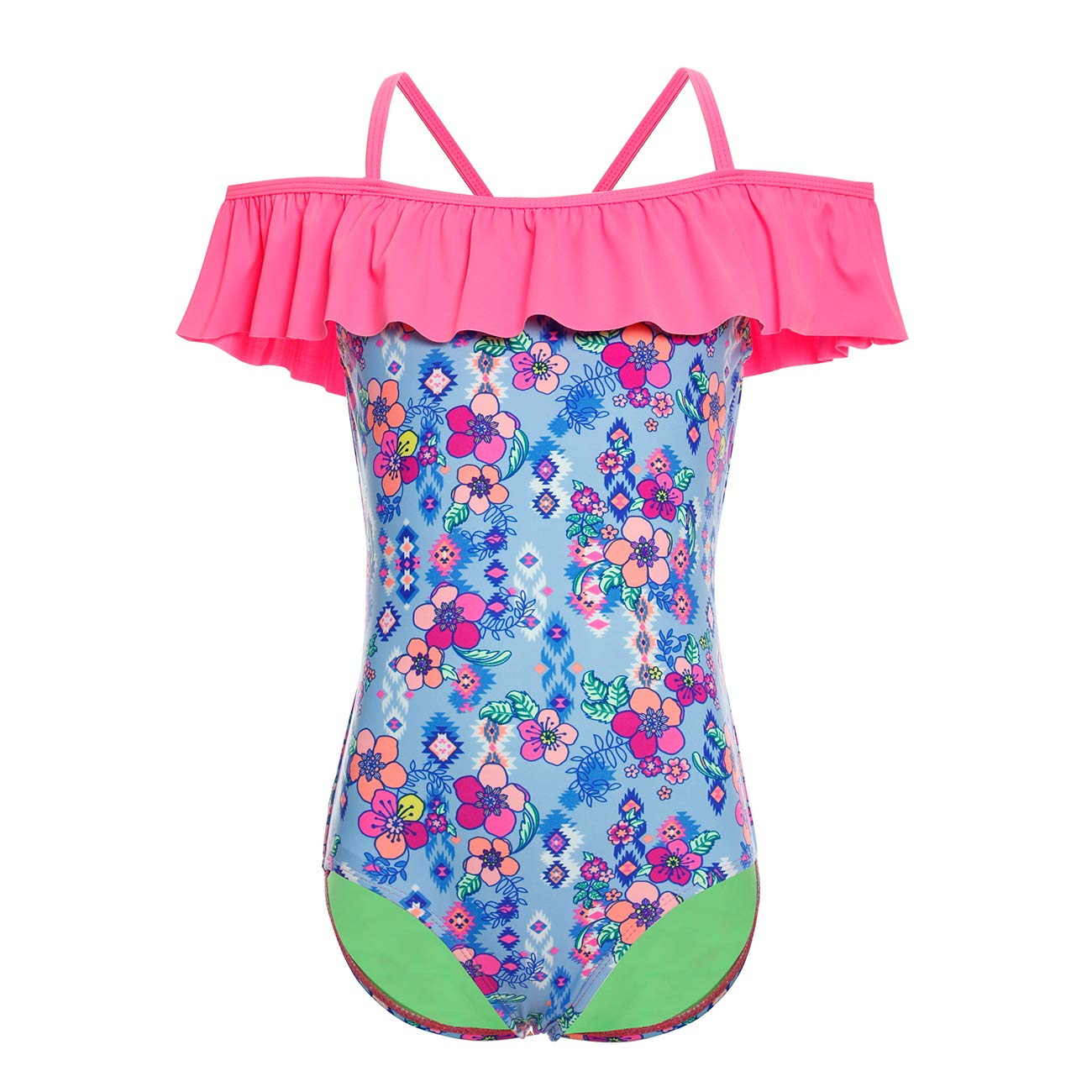 DAYU Girls Ruffles Off Shoulder One Piece Bathing Suit for Kids