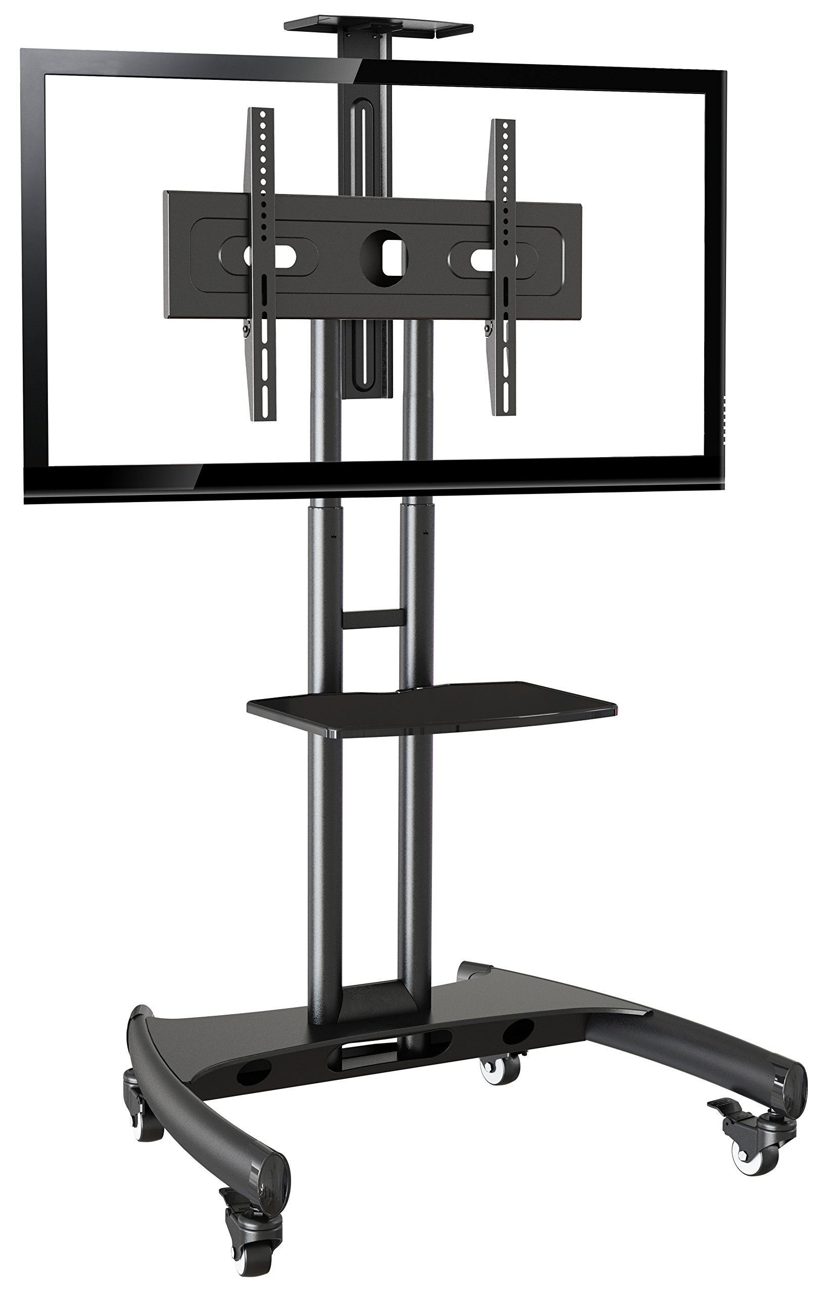Rocelco VSTC Adjustable Height Mobile TV Stand, for 32-70 inch Flat Screen TVs, with with AV and Webcam Shelf - Black by Rocelco (Image #1)