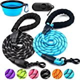 COOYOO 2 Pack Dog Leash 5 FT Heavy Duty Radiant Colors, Reflective Rope - Padded Handle - Reflective Dog Leash for…