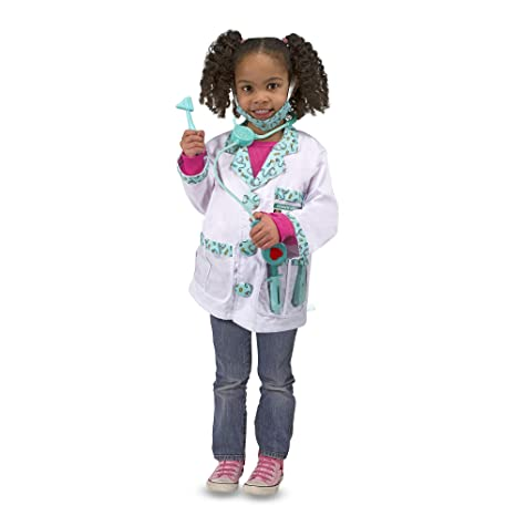 Melissa Doug Doctor Role Play Costume Set Pretend Play High Quality Materials Machine Washable 44 45 Cm H 60 96 Cm W 1 905 Cm L