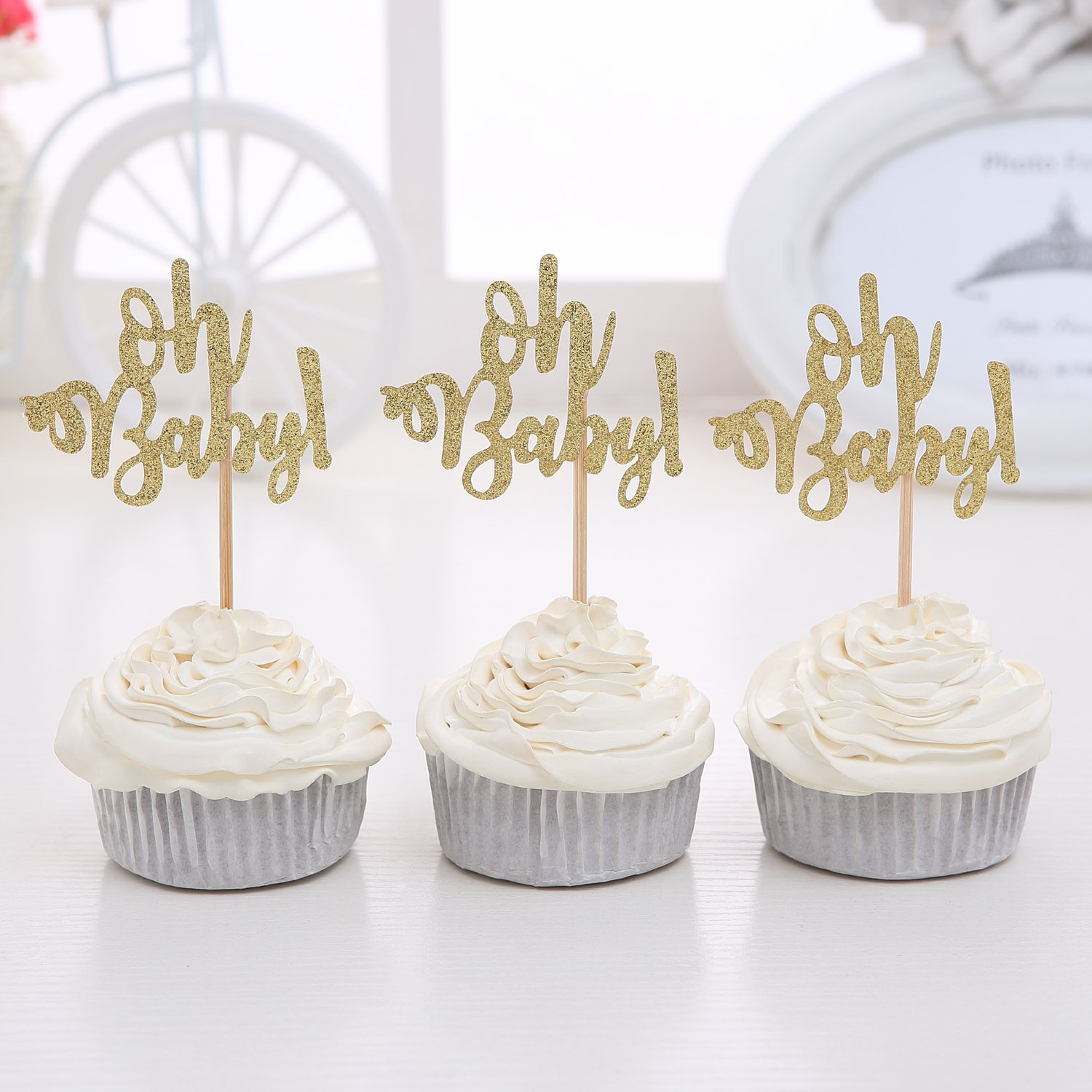 Giuffi Set of 24 Golden Oh Baby One Cupcake Toppers Party Decors Baby's Birthday